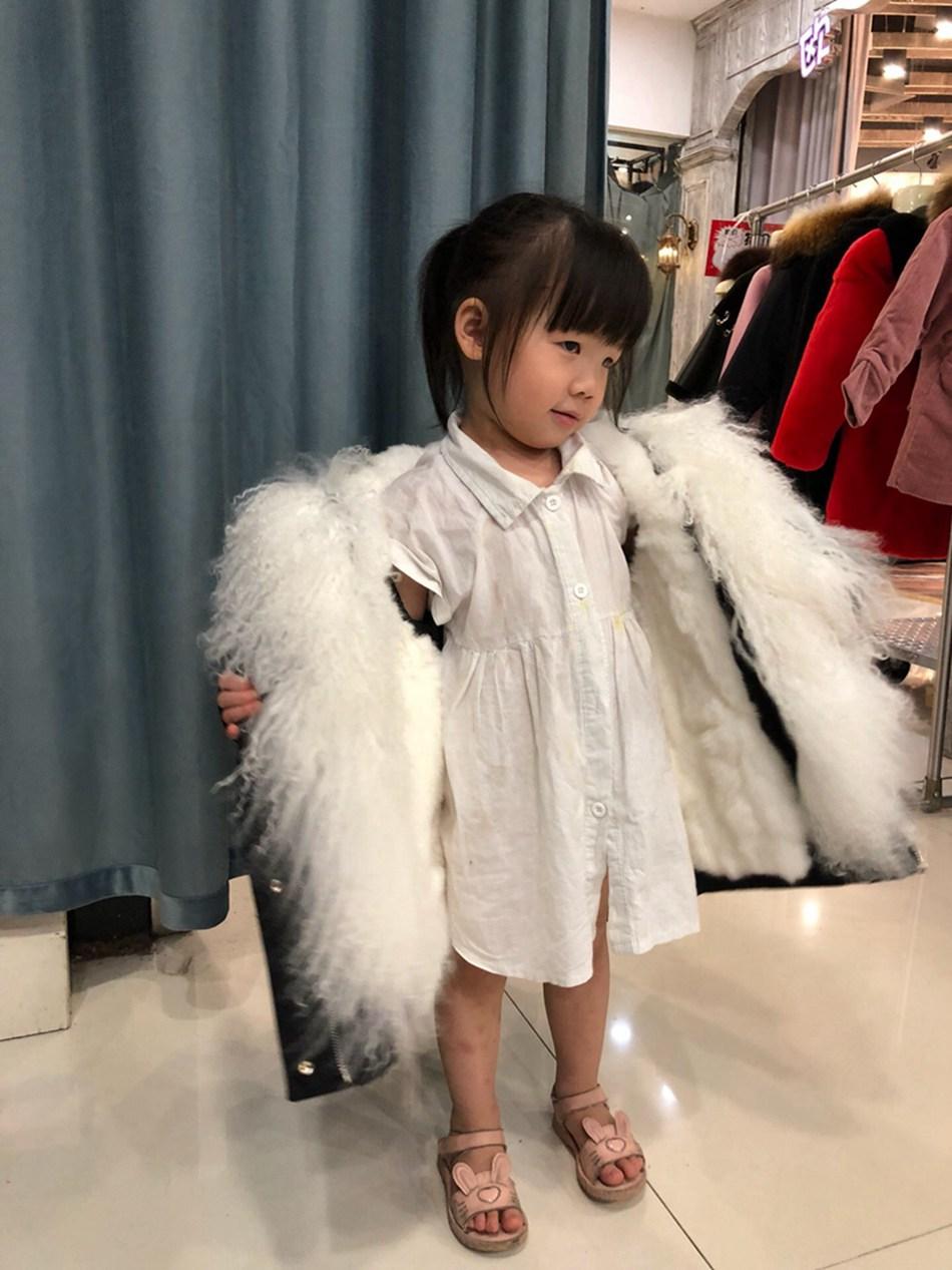 Parent-childs natural fur parkas with hood (17)