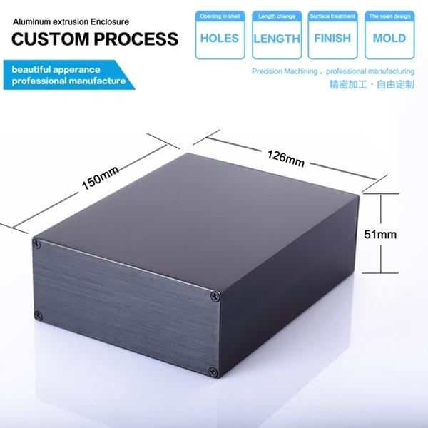 YGS-015-1 125*51*110/4.92''x2.0''x6.3''(wxhxl)mm Black Aluminum Project Case Enclosure For Electronic