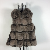 High quality winter coat fashion luxury women's jacket gilet vests fox jacket real fox fur sleeveless vest