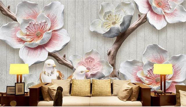 US $18.35 49% OFF|Benutzerdefinierte 3d tapeten für wohnzimmer schlafzimmer  geprägt plum blossom vögel retro und elegante 3d mural vlies tapete in ...