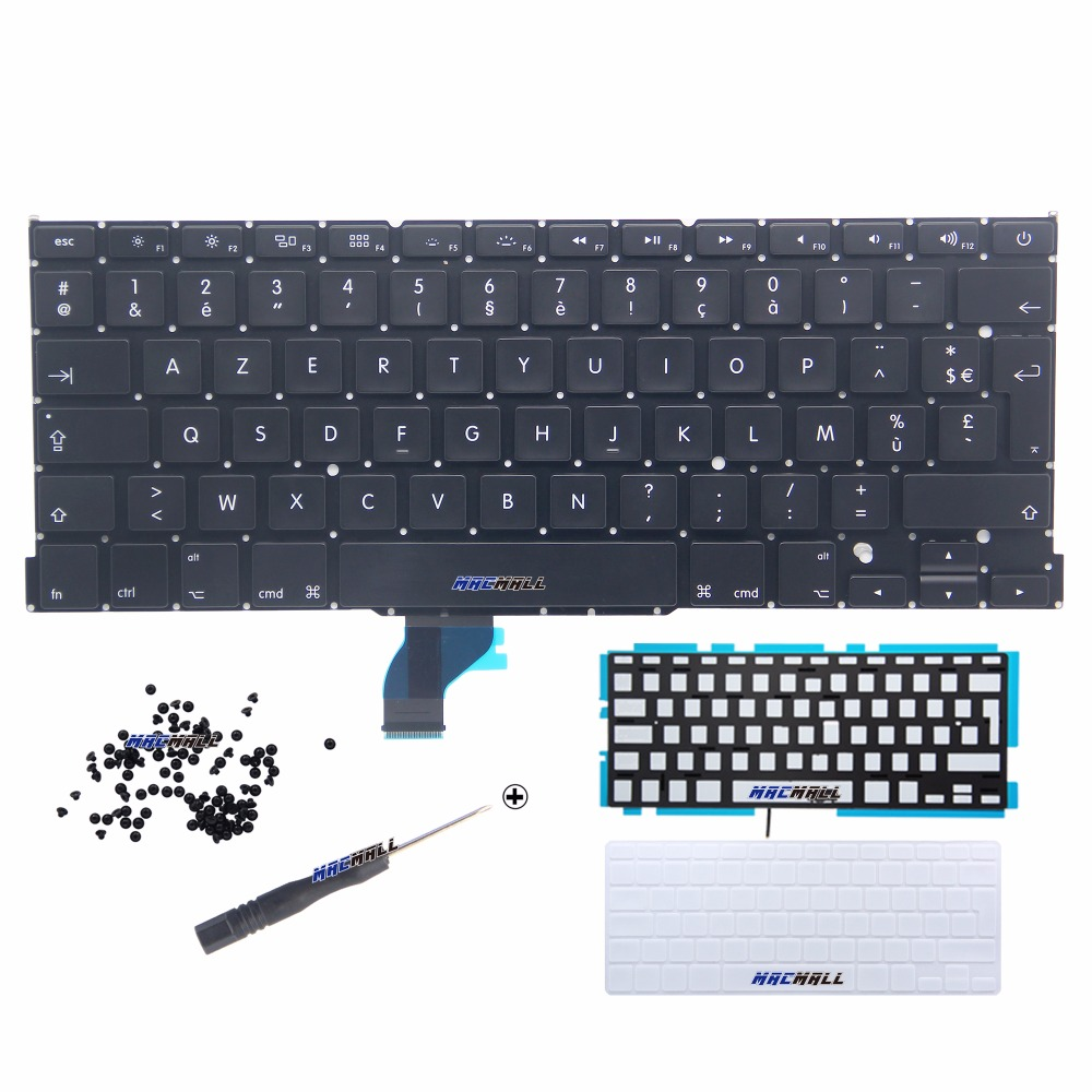 New for Macbook Pro Retina 13 A1502 French France FR AZERTY Keyboard w/ Backlight Backlight + 100Pcs Screws 2013 2014 2015 Year image