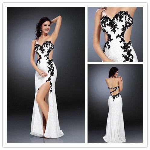 Vestidos blanco y negro largo