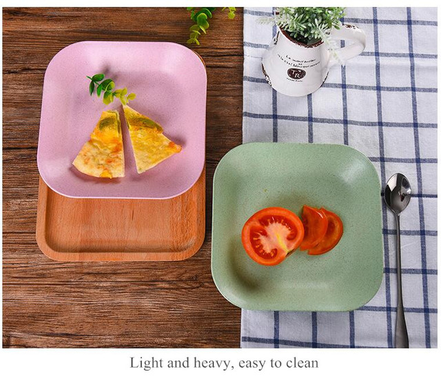 Four colors European style retro wheat straw vegetable plate environmental protection steak dinner plate breakfast MCC1301 : vegetable plate dinner - pezcame.com