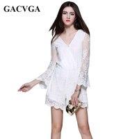 GACVGA 2017 Embroidery V Neck Summer Sexy Jumpsuit Romper Transparent Mmesh Women Lace Party Short Bodysuit