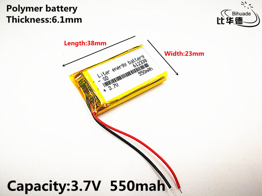 2019 The new quality 100pcs/lot 3.7V,550mAH,612338 Polymer lithium ion / Li-ion battery for automobile data recorder,GPS,mp3,mp4 2