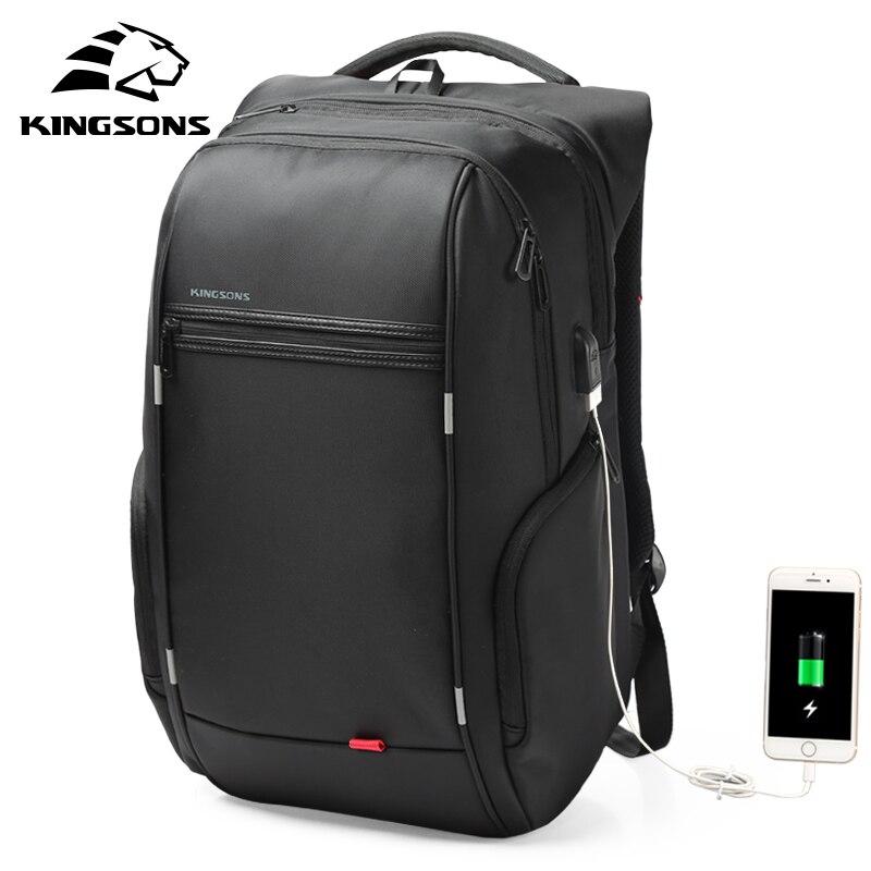 Kingsons 15 17 ноутбук рюкзак Внешний USB зарядка Компьютерные рюкзаки противоугонные непромокаемые сумки для мужчин женщин