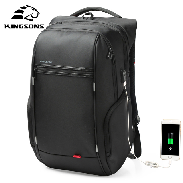 Kingsons 15″17″ Laptop Backpack External USB Charge Anti-theft Waterproof Bags for Men Women