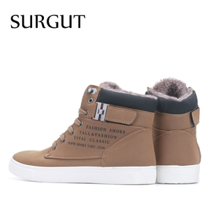 Image 2 - SURGUT Men Shoes 2020 Top Fashion New Winter Front Lace Up Casual Ankle Boots Autumn Shoes Men Wedge Fur Warm Leather Footwear