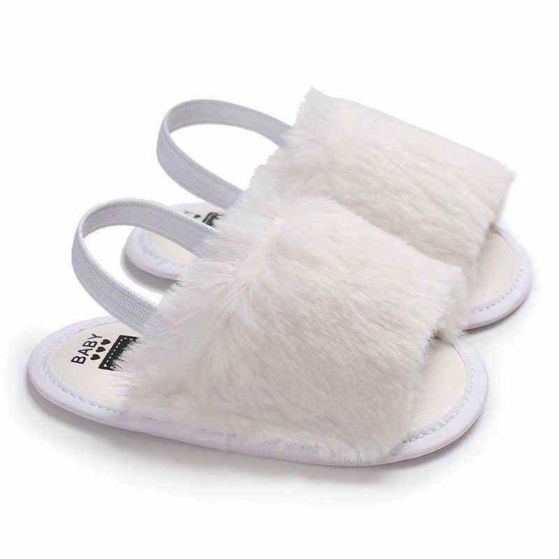 أحذية صندل صيفية جديدة للأطفال حديثي الولادة من موديلات 2018 ، 6 قطع من الفرو بتصميم مسطح ومزودة بكعب 0-18 متر ، أحذية للأطفال