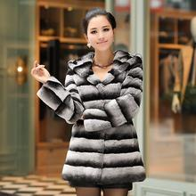 hot selling natural chinchilla fur Rex rabbit fur coat with hoody long design female overcoat best price winter garment CW2127