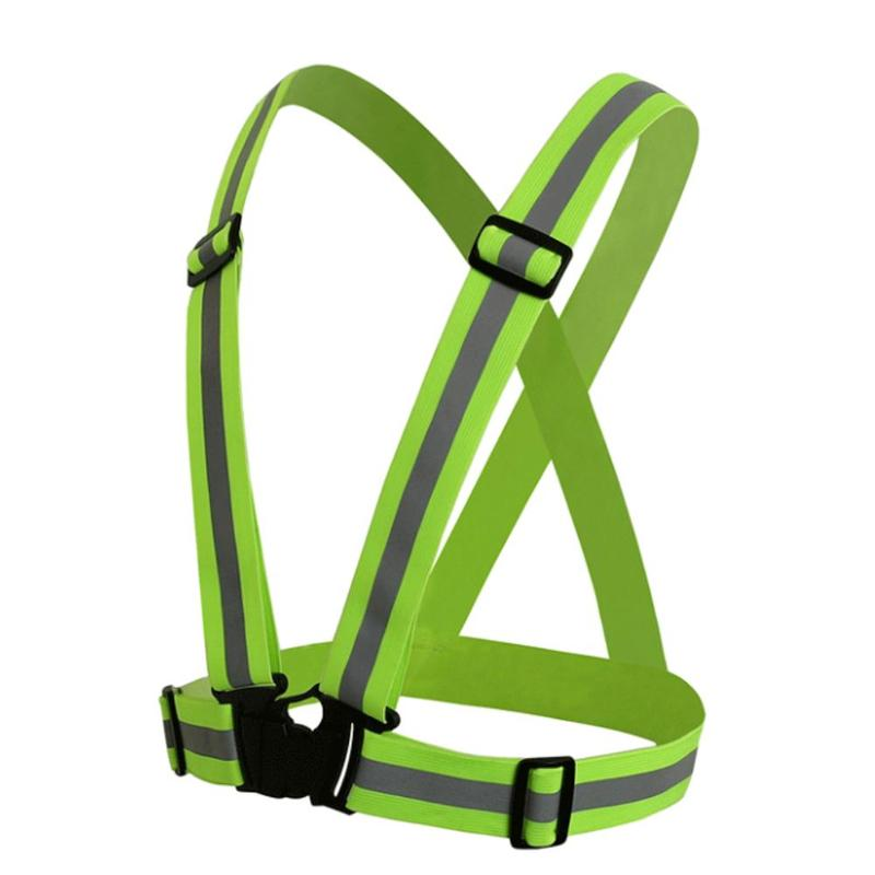 Sunny Mounchain Unisex Outdoor Cycling Safety Vest 70-98cm Bike Ribbon Bicycle Reflecing Elastic Harness For Night Riding Cycling Vest