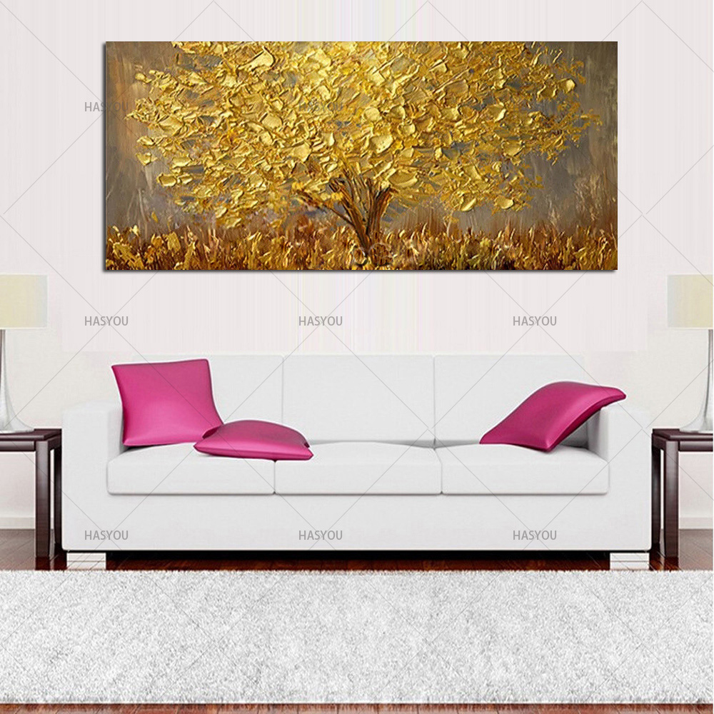 HTB1UCfsccLJ8KJjy0Fnq6AFDpXai Hand Painted Knife Gold Tree Oil Painting On Canvas Large Palette 3D Paintings For Living Room Modern Abstract Wall Art Pictures