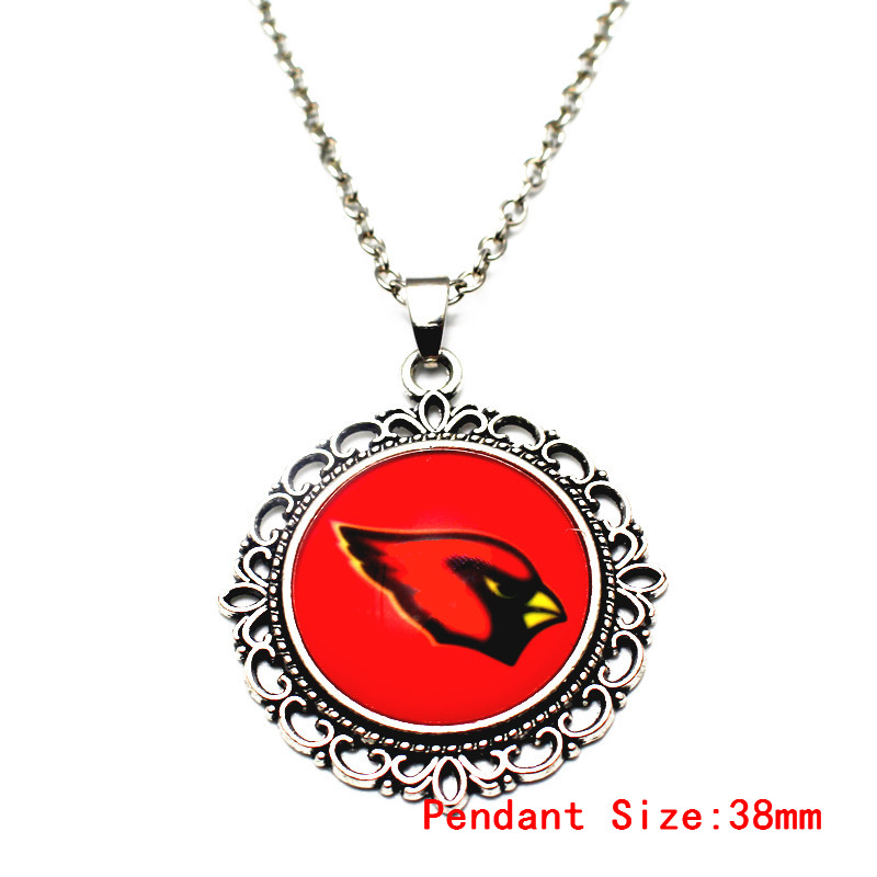 Hot Sale Silver Dangle Vintage Flower Print Football Sports Arizona Cardinals Pendant Necklace For Man Woman Necklace Jewelry