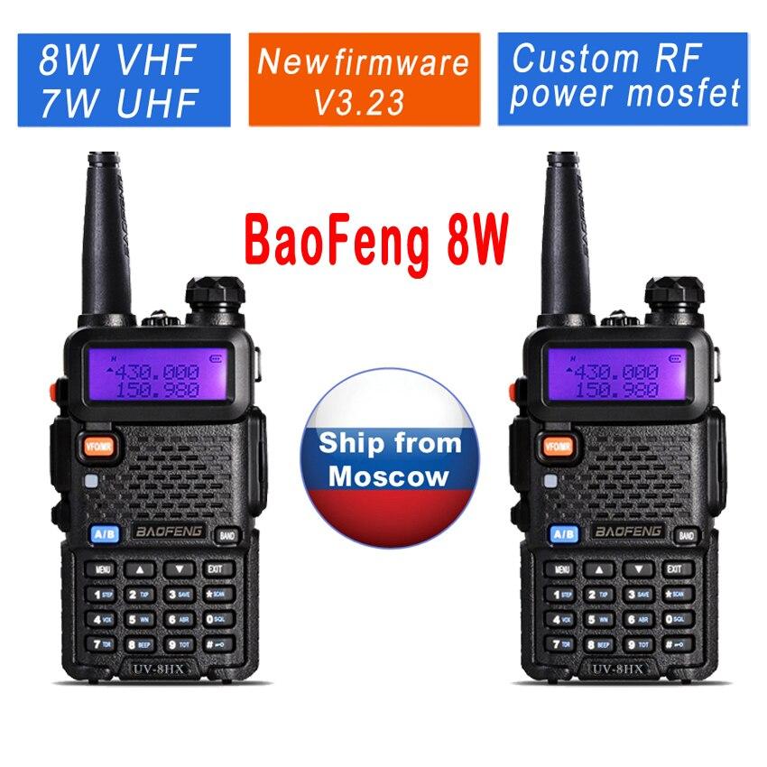 imágenes para 2 unids/lote UV-8HX BAOFENG UV5R 8 W Radio de Doble Banda VHF UHF Amateur Radio UV5R Radio Frecuencia Portable Pofung UV-5R Walkie Talkies