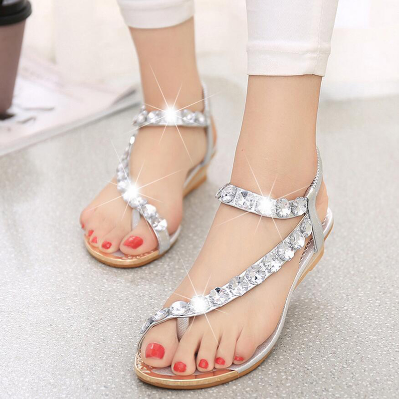 2018 New Bohemian Women Sandals Crystal Flat Heel Sandalias Rhinestone Chain Women Wedge Shoes Thong Flip Flops Shoes 2018 new bohemian women sandals crystal flat heel slipper rhinestone chain women casual beach shoes size 34 44