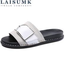 LAISUMK Summer Fashion Slippers Shoes Women Flats Suede Leather Buckle Sandals Ladies Slides Mid Platform Heels Mules