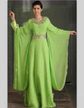Muslim Style Kaftan Dubai Long Sleeve Formal Evening Dresses Chiffon Abaya Islamic Long Evening Gowns Robe De Soiree