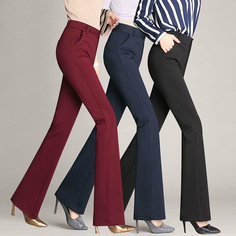 Pantalones Flacos Negros Y Azules Acampanados Pantalones Rectos De Cintura Alta De Oficina Para Mujer Pantalones De Trabajo Pantalones Y Pantalones Capri Aliexpress