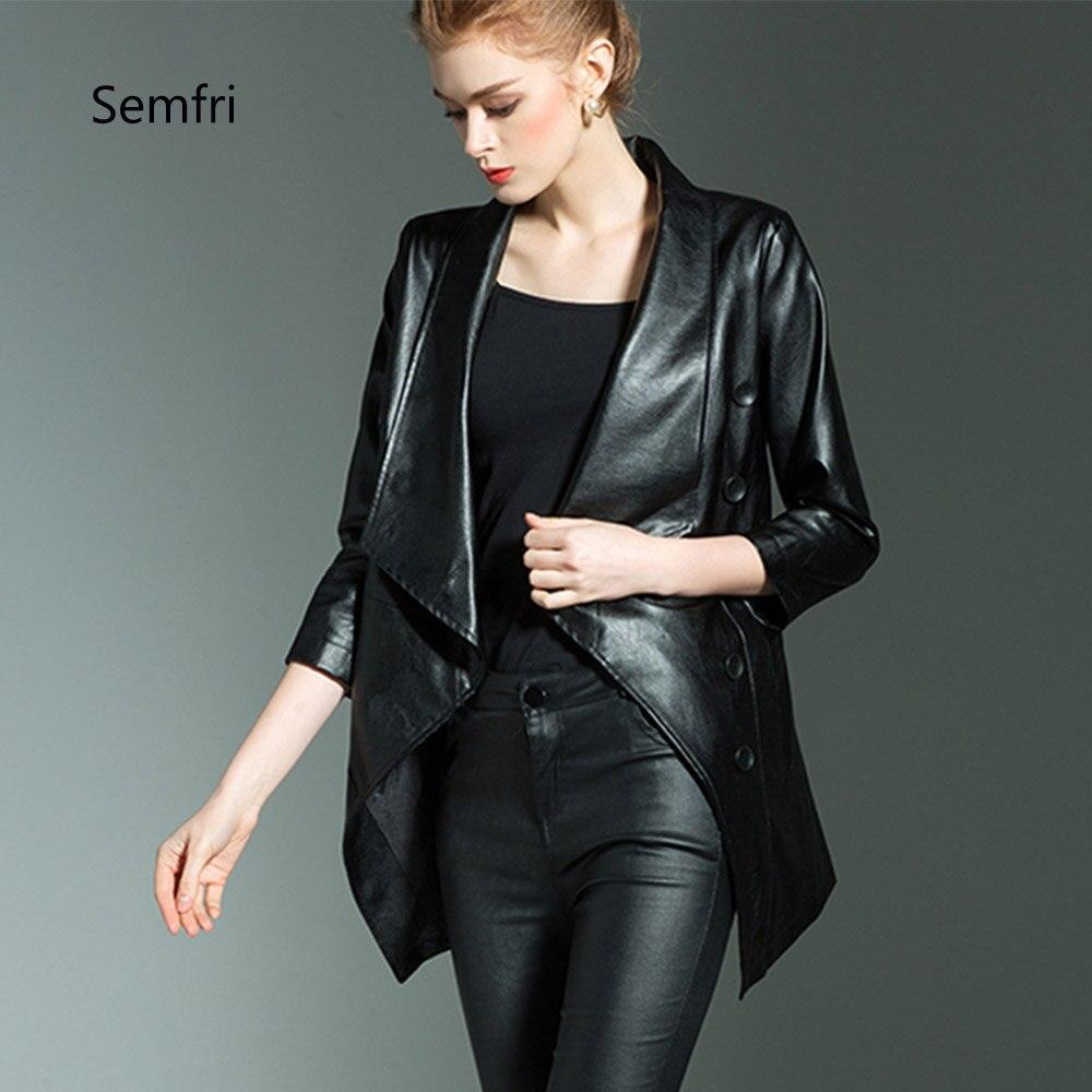 Semfri Women Fashion Black PU Leather Jacket Winter Autumn Motorcycle Jacket Black Outerwear Elegent Office Lady Coats 2019