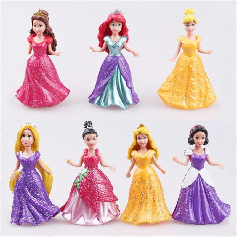 14PCS/ Set Disney action figure pvc princess Snow White Dress Up Detachable Dolls Princess 8cm Girl Toys for Kids Ornaments Gift 8pcs set high quality pvc figure toy doll princess snow white snow white and the seven dwarfs queen prince figure toy