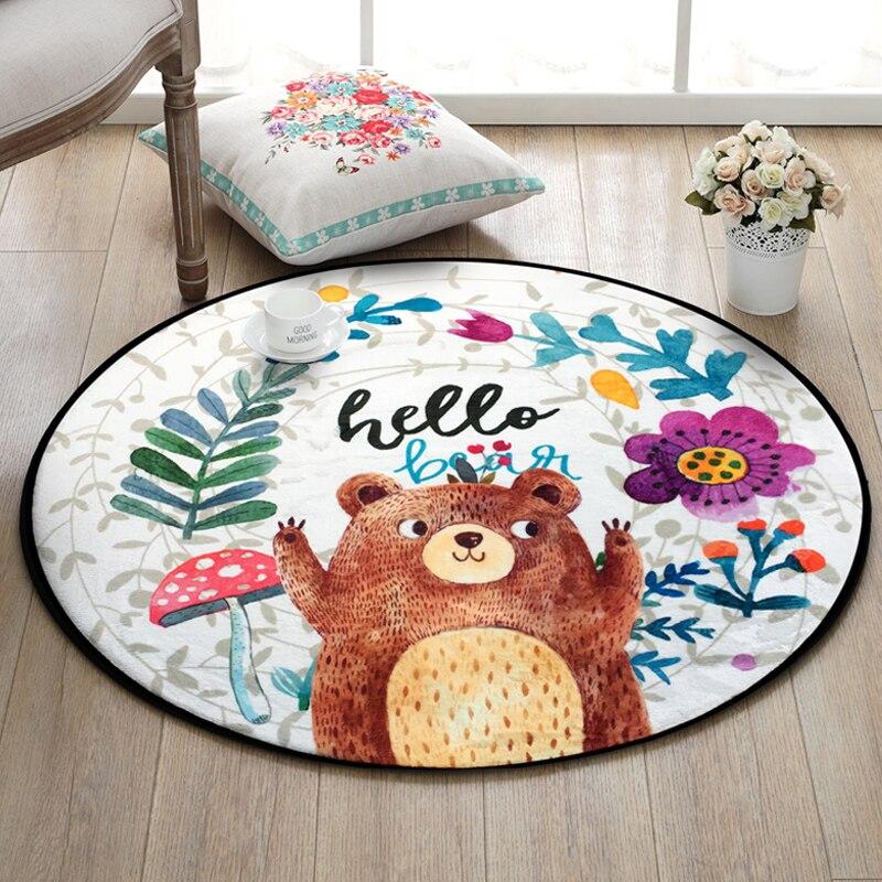 Us 10 5 30 Off Round Cartoon Bear Printing Home Floor Mat Carpet Dia 60cm Anti Slip Bathroom Rugs Kids Gift Bath Sofa Bed In