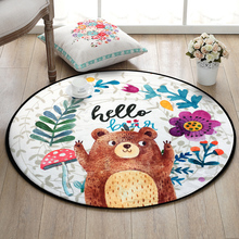 Round Cartoon Bear Printing Home Floor Mat Carpet Dia 60cm Anti Slip Bathroom Mat Rugs Kids Gift Bath Mat Carpet Sofa Bed Carpet