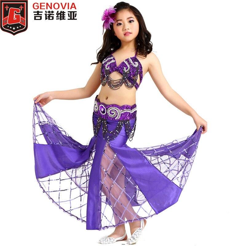 2019 nouveaux enfants danse du ventre Costume fille Bellydace Top soutien-gorge et ceinture perlée et jupe scène Performance Costume Costume 8 couleurs