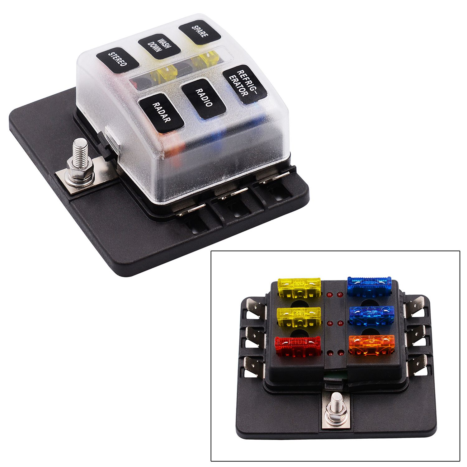1Pc Plastic Boat Automotive 6 Way Terminal Fuse Box with LED Indication