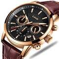 LIGE Herren Uhren Top Brand Luxus Leder Casual Quarzuhr Männer Military Sport Wasserdichte Uhr Gold Uhr Relogio Masculino