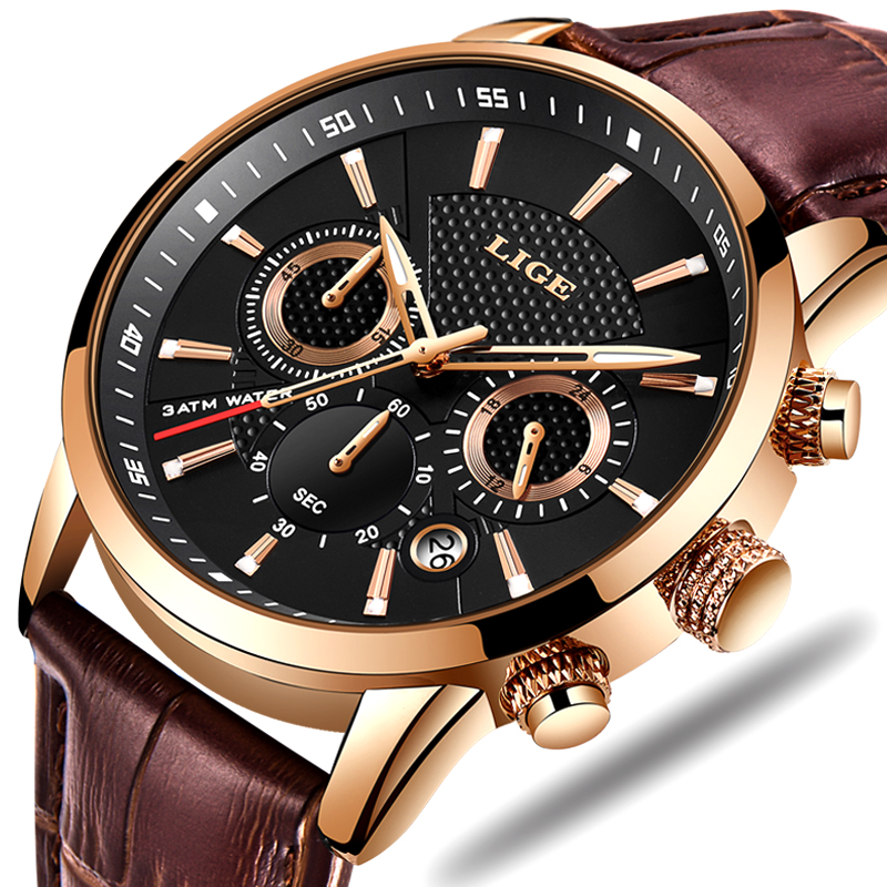 LIGE Mens Watches Top Brand Luxury Leather Casual Quartz Watch Men Military Sport Waterproof Clock Gold Watch Relogio Masculino-in Quartz Watches from Watches
