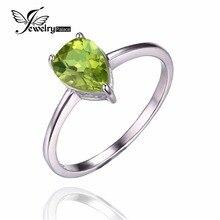 JewelryPalace Pera 1.3ct Peridoto Verde Natural Piedra Solitario Anillo de Plata de Ley 925 Nueva Marca de Joyería de Moda Promoción