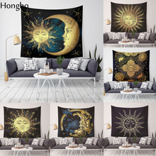 Hongbo Indian Buddha Statue Tapestry Wall Hanging Cloth Chakra Tapestries Psychedelic Yoga Carpet Home Decoration