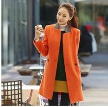 Free Shipping New 2014 Autumn Winter Clothing Women Fashion Mandarin Collar Elegant Slim Long Wool Coat Trench For Female WJ2219