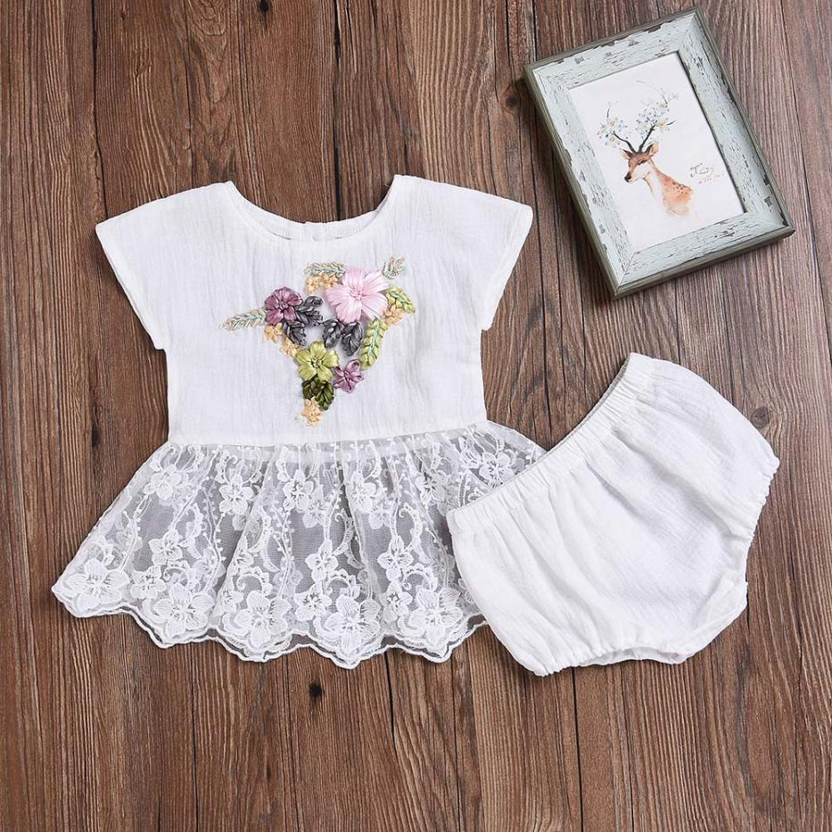 New Summer Toddler Baby Girls Embroidery 3D Floral Lace Tops Dress Shorts Outfits Set Comfortable Touch High Quality