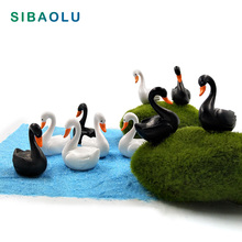 10pc/lot Black White Swan miniature Figurine Cartoon Love Ducks decoration mini fairy garden animals statue  Home Desk ornaments