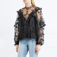 White Black Lace Hollow Out Blouses Women 2017 Spring Autumn Long Sleeve Self Portrait Shirts Tops