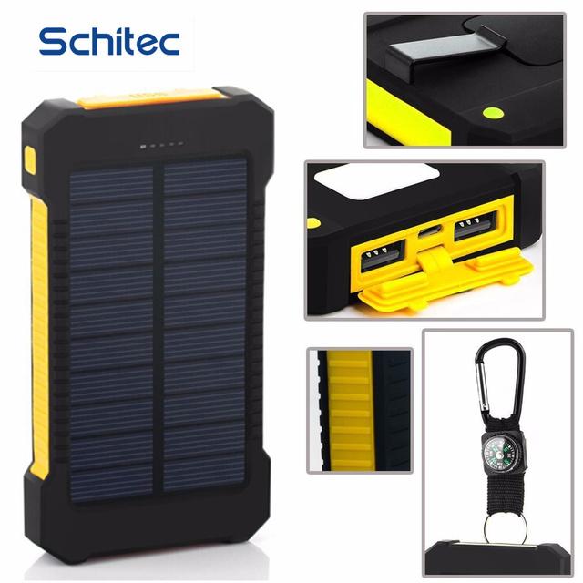 La pobre powerbank 20000 mah banco portable banco de la energía solar de doble usb cargador de batería solar para todo el teléfono móvil xiaomi iphone