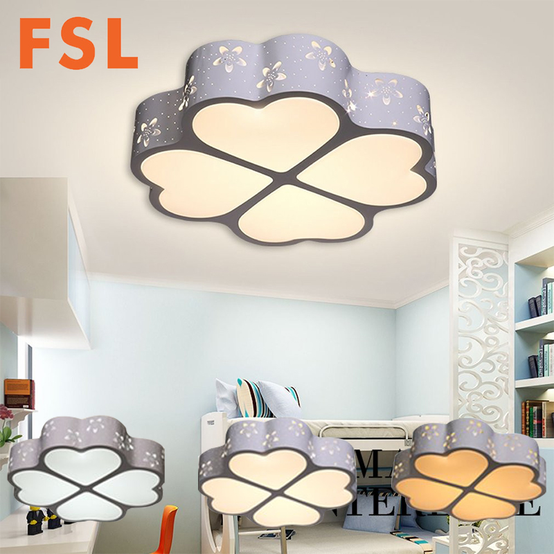 FSL Flower Hollow Design LED Ceiling Light 3 Stage Dimmable Bedroom Clover Lamp Super Bright for Children Room Bedroom 24W/36W
