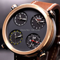 48mm Parnis Big Face sandwich dial Multiple Time Zone quartz WATCH Full chronograph gold plated P55