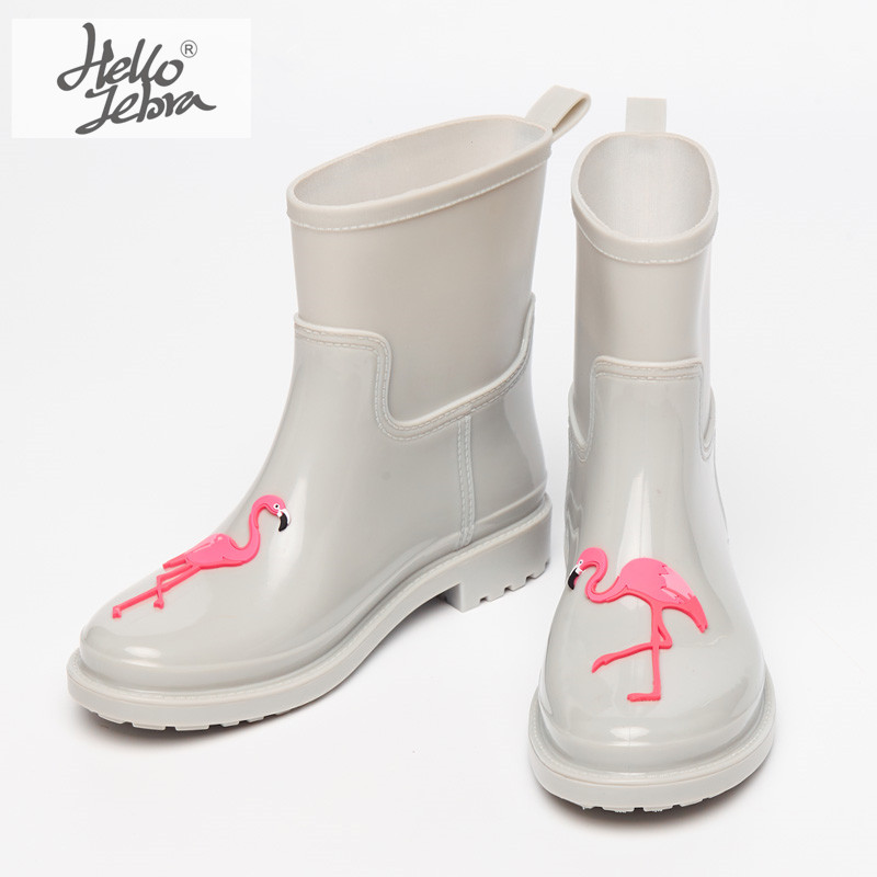 Hellozebra New Arrival PVC Rain Boots Women Female Waterproof Cartoon Animals Rainboots Woman Wellies Water Shoes шорты женские love republic цвет черный 8254145704 50 размер 42