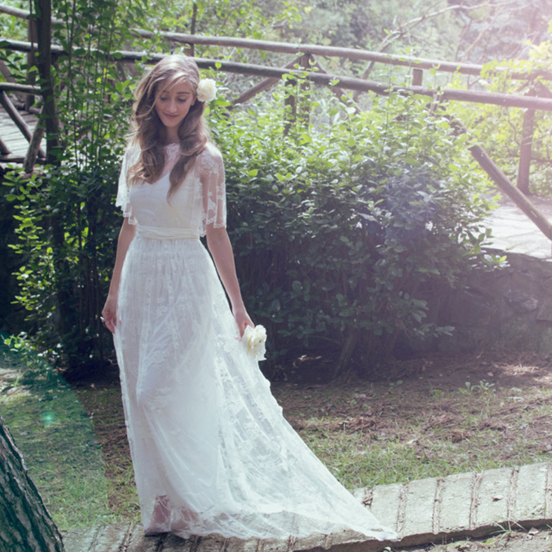 Women 2016 country style flutter sleeve romantic french for Boho country wedding dress