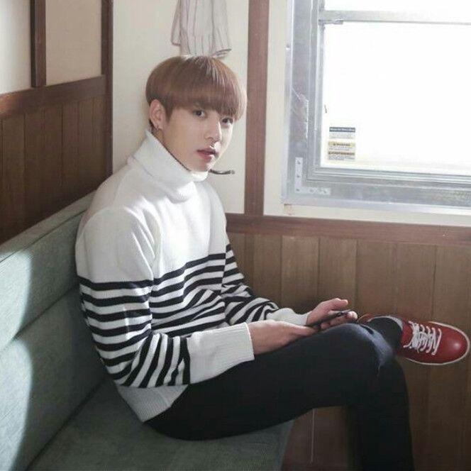 Kpop Bts Bangtan Boys Jungkook Same Paragraph Men And Women Stripe Turtleneck Sweater Harajuku Coat Korean Clothes Streetwear Cardigans Men's Clothing