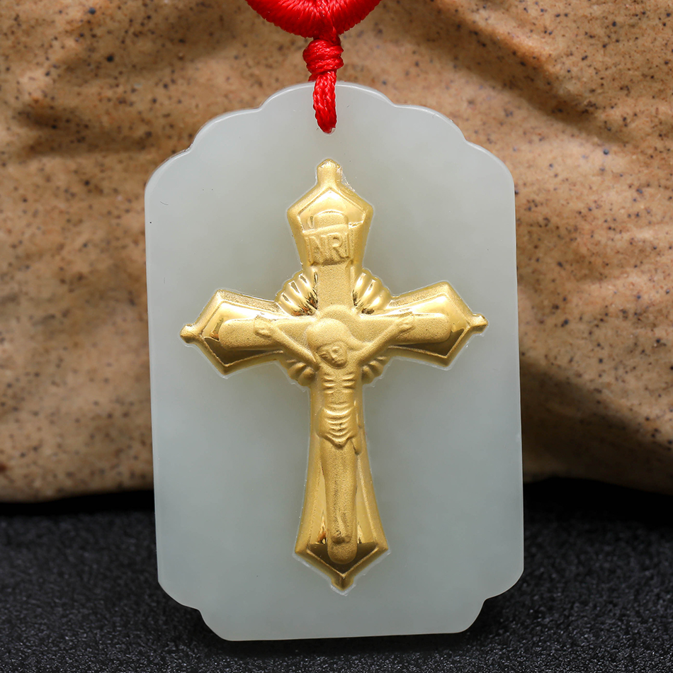 Gift Hetian Jade Cross Pendant 3d three-dimensional Pattern Gold Jade Pendant Necklace Fashion Jewelry Jade Couple Models 8688 hetian jade pendant for men and women cross jade pendant necklace pattern white high quality