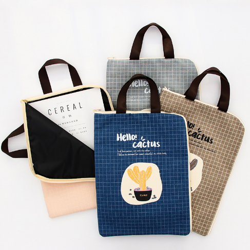 1Pcs Creative A4 Hello Cactus Canvas File Folder Document Filing Bag Large Capacity Stationery Bag School Office Supplies 017 premiun pp material black blue red green grey 30 40 60 page b4 file folder document filing bag school office supplies stationery