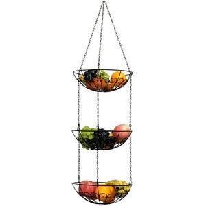 Image 4 - Vegetable Storage Hanging Fruit Basket 3 Tier Kitchen Multi Use Holder Home Iron Art Organizer Modern Style Rack With Chain