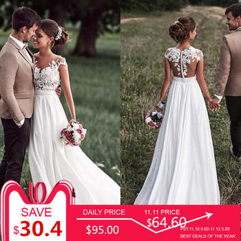 SoDigne Beach Lace Appliques Bride Dress 2018 Cap-Sleeves Slit Side Buttons White/Lvory Wedding Dress Custom Made
