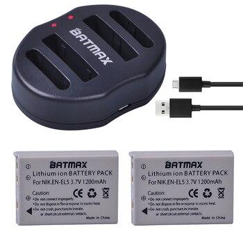 Paquete de 2 EN-EL5 ENEL5 En El5 batería recargable de iones de litio + cargador USB doble para cámara Nikon Coolpix P80 P90 P100 P500 P510 P520