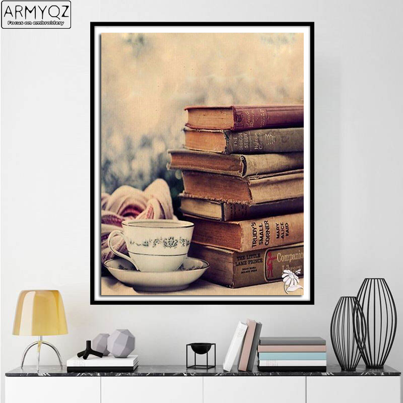 ARMYQZ Diamond Painting Old Books Cup of Tea Diamond Embroidery Relax Reading Time Craft Decoration for Study Room ASF953
