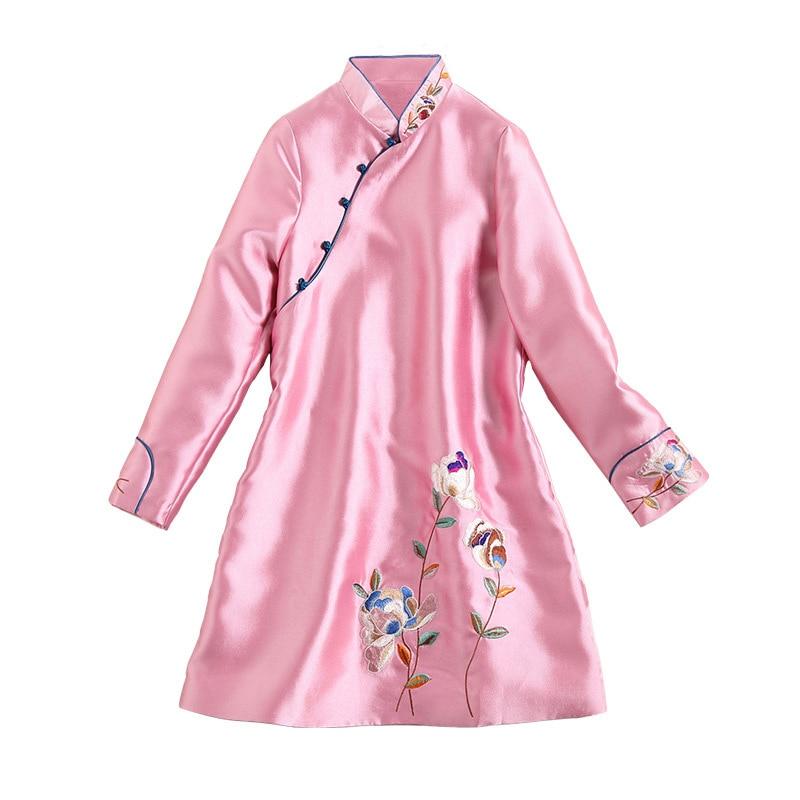 Longues Feminino Bouton Green Vestes Nouvelle Manteaux Vintage 2018 Plus Veste Casaco Manches Tunique Broderie Haute La pink Qualité À Taille Femmes Automne fTanqHRW