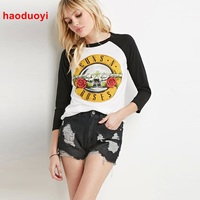 HDY Haoduoyi Rose And Guns Printed Women T Shirt Fashion Casual Long Sleeve Tee Shirt Femme